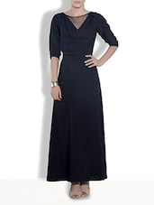 Solid Black Poly Crepe Maxi Dress - By