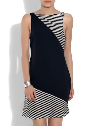 Black yarn dyed striped poly crepe dress