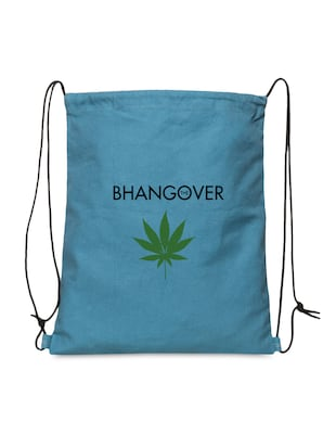 Blue Printed Canvas Drawstring Backpack