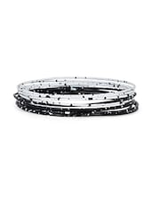 Monochrome Metal Bangle (Set Of 12) - Honey Collections- By Aryan