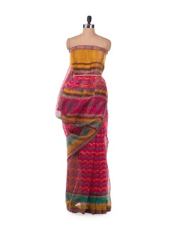 Scallop Lines Saree In Powernet In Fuchsia - ROOP KASHISH