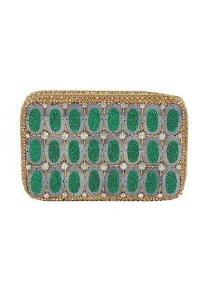 green metal embellished  clutch