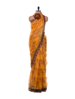 Autumn Leaves Print Saree - ROOP KASHISH
