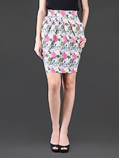 Floral Printed Pleated Polyester Pencil Skirt - Glam And Luxe