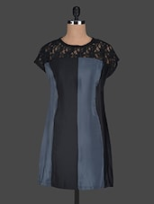 Round Neck Lace Yoke Polyester Dress - Glam And Luxe