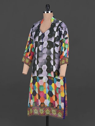 Buy Honeycomb Print Poly Georgette Kurta for Women from Ishi