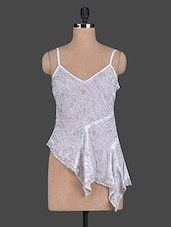Sequined Georgette Sheer Asymmetric Top - TRENDY DIVVA