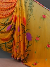 Floral Embroidered Pallu Yellow Saree - Shrimatiji Sarees