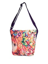 Adjustable Purple Sling Cartoon Printed Tote Bag - Lass Lee