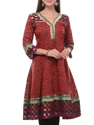 Supernet Cotton Anarkali kurta