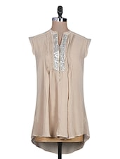 Beige Plain Sequin Worked Pin Tucked Georgette Top - URBAN RELIGION