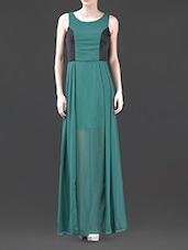 Color Block Round Neck Georgette Maxi Dress - Harpa