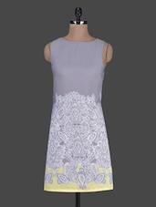 Printed Boat Neck Sleeveless Crepe Dress - Harpa