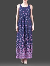 Floral Printed Sleeveless Crepe Maxi Dress - Harpa