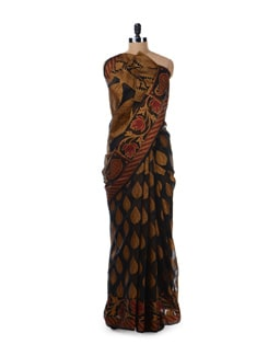 Black, Gold & Red Saree - Bunkar