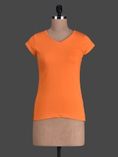 Orange Plain Short Sleeve Cotton Tee - Fashionexpo