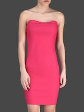 Pink Plain Sleeveless Polyester Lycra Back Bow Dress - Fashionexpo