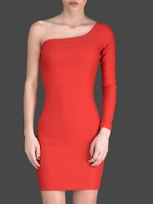 Red Plain Polyester And Lycra Bodycon Dress - Fashionexpo