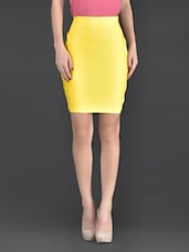 Yellow Plain Polyester And Lycra Bodycon Skirt - Fashionexpo