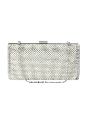 silver leatherette clutch