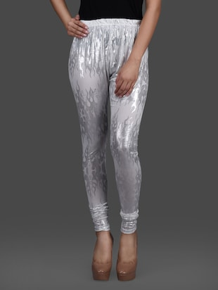 white silver poly knit leggings
