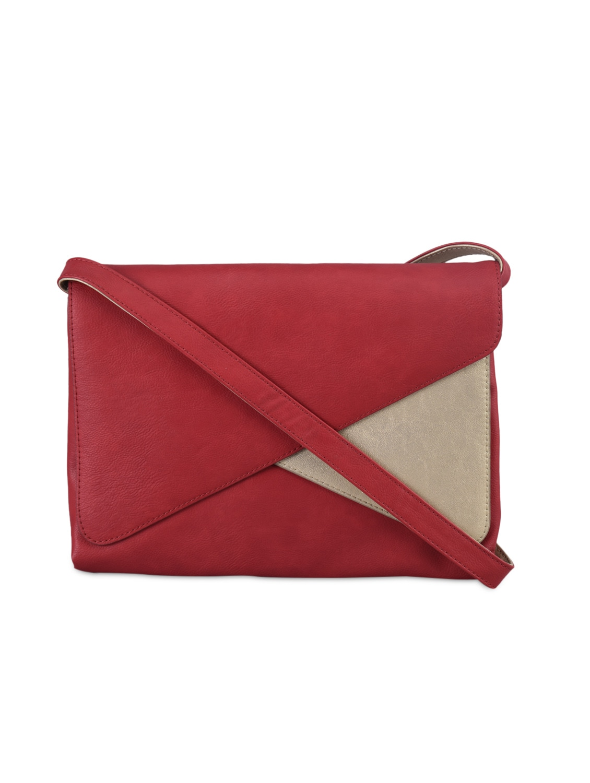 Gold Block Red Leatherette Sling Bag - Baggit