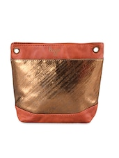 Leatherette Sling Bag With Hint Of Gold - Baggit