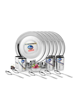 silver stainless steel dinner set (24 pieces)