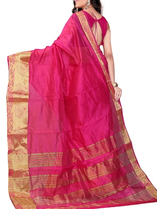 pink art silk banarasi saree with blouse - 11271911 - Standard Image - 2