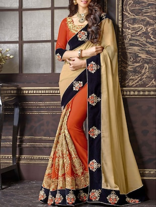 orange beige color, embroidered georgette saree