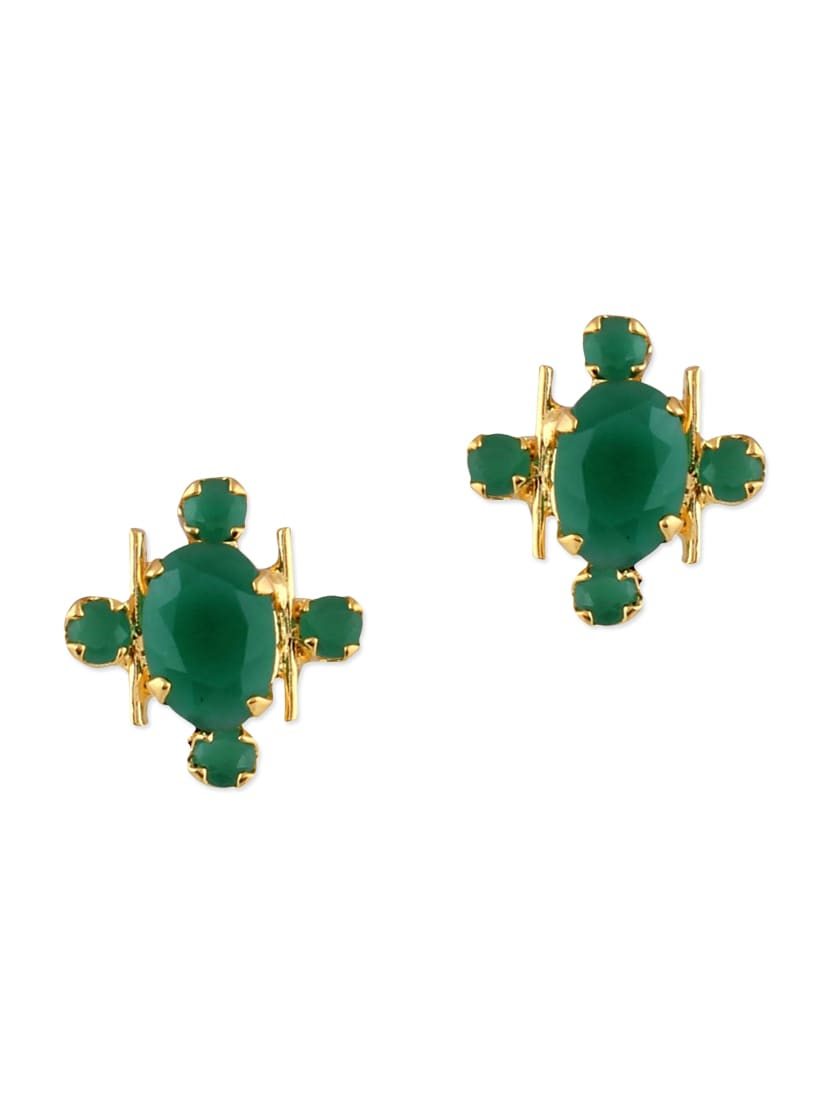 Green Brass Studs Earring Earrings - By