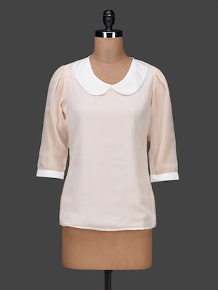 peter pan collar quarter sleeves georgette top