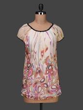 Wide Neck Short Sleeves Printed Georgette Top - PANIT