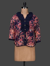 Ruffled Front Printed Georgette Shirt - PANIT