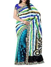 Stripped Art Silk Saree - DIVA FASHION