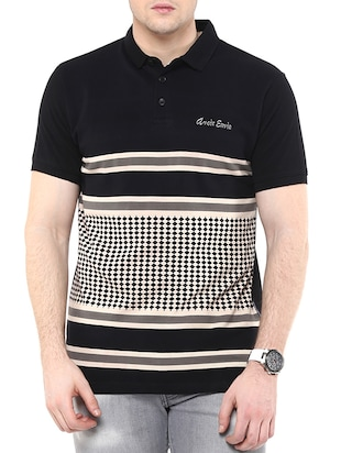 Monochrome black cotton polo t- shirt