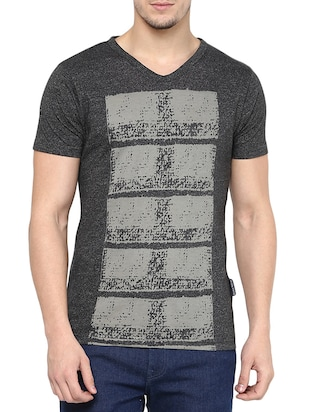 grey cotton printed t- shirt