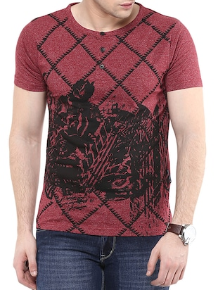 red printed cotton henley t-shirt