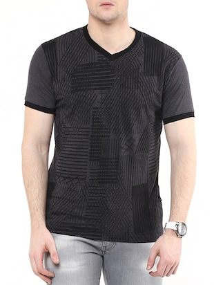 charcoal grey cotton striped t-shirt