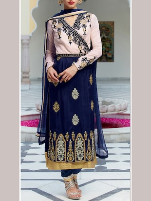 blue georgette unstitched suit