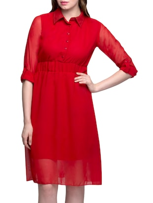 red poly georgette shirt collar dress