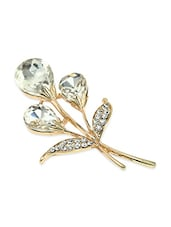 Golden Peacock Floral Shaped White Brooch - By