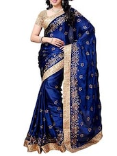 blue satin embroidered saree -  online shopping for Sarees