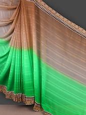 Green And Beige Satin Jacquard Saree - Manvaa