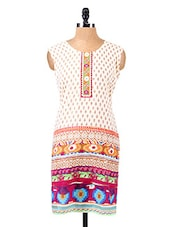 Block Printed Sleeveless Cotton Kurta - Salwar Studio - 1129233