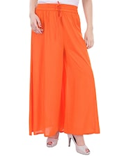 solid orange rayon palazzo -  online shopping for Palazzos