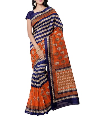 multi colored art silk printed saree with blouse