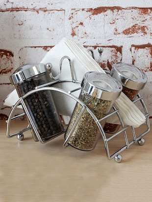 Steel napkin holder with spice dispensers -  online shopping for Napkin Holders