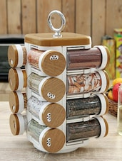 Wood Finish Printed Spice Rack Set Of 16 - By