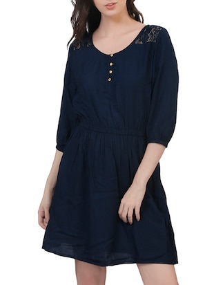 blue viscose A-line dress